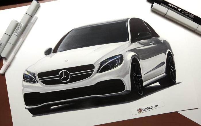 Рисунок Mercedes-benz С63 AMG Размер 30*40см