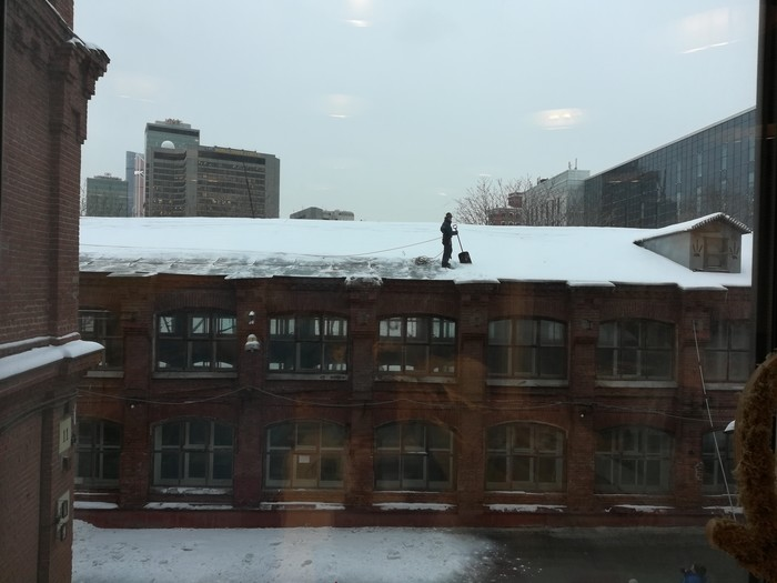 Техника безопасности Техника безопасности, Без страховки, Крыша, Очистка, Снег
