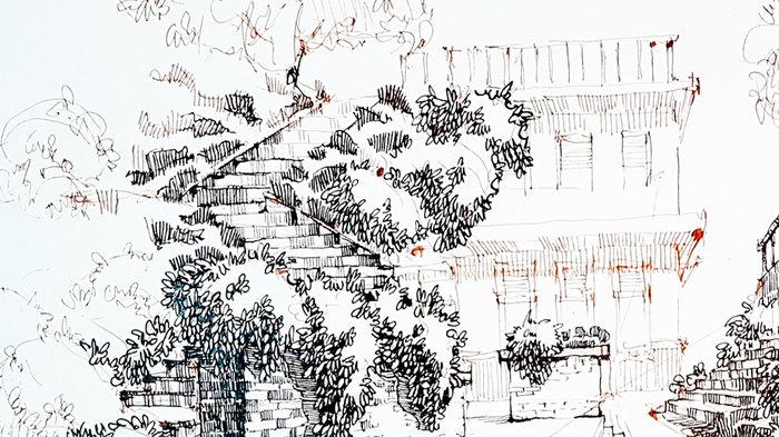 Рисование пространства в одноточечной перспективе пером и тушью. Рисунок, Рисование, Скетч, Скетчбук, Набросок, Графика, Пейзаж, Видео, Длиннопост, Тушь