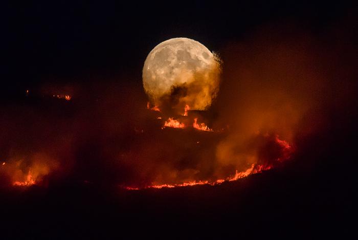 Луна в огне Фотография, Пожар, Луна