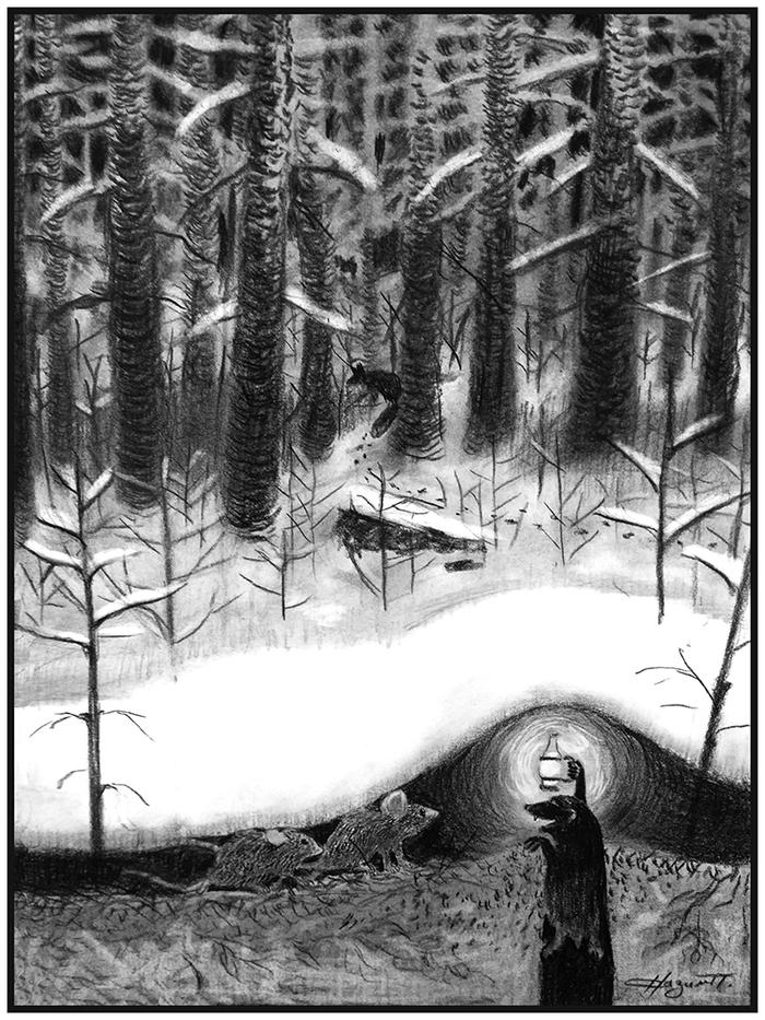 Мыши идут в гости к кроту. Рисунок, Уголь, Лес, Крот, Мышь, Новый Год, Гости, Рисунок углем