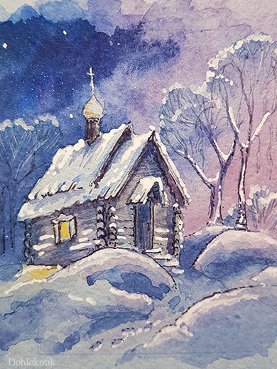 Зимних акварелек пост Акварель, Открытка, Рисунок, Длиннопост, Зима