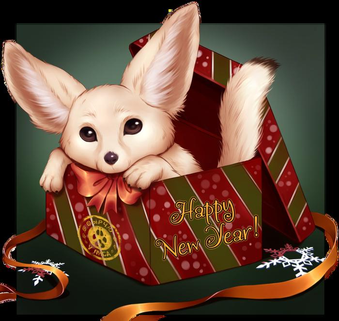"""Лисо-открытка """"C Новым Годом! """" Новый Год, Открытка, Лиса, Фенечка, ФырЧю, У лиса"""