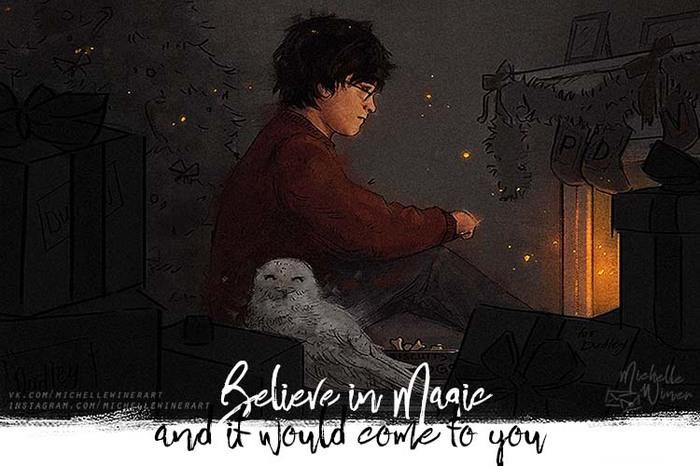 """""""Believe in Magic and it would come to you"""" Гарри Поттер, Иллюстрации, Сова, Арт, Фан-Арт, Камин, Рисунок, Цифровой рисунок"""