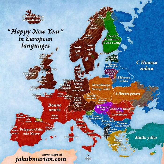 """""""С новым годом"""" на европейских языках."""