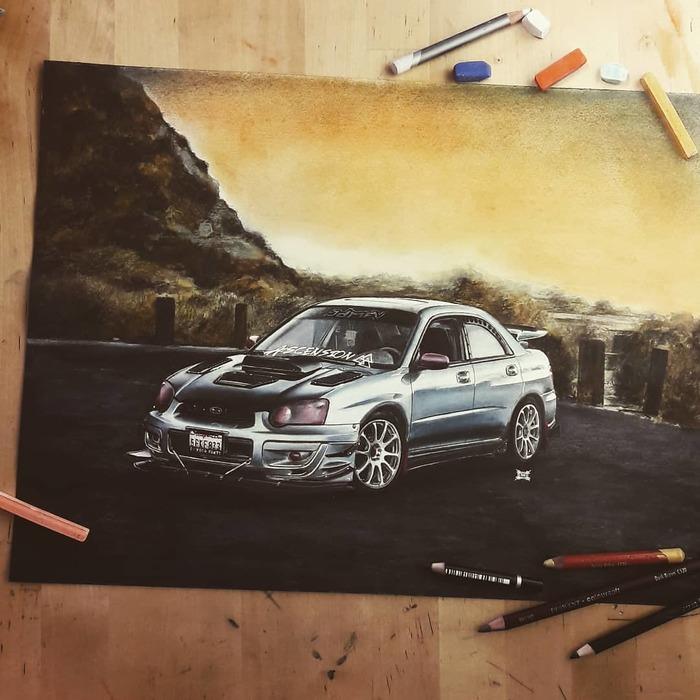 Подборка работ: 2004 Subaru Impreza WRX, '68 Dodge Charger, Ford Mustang SN95 Subaru, Dodge, Dodge Charger, Ford Mustang, Арт, Рисунок, Рисунок карандашом, Авто, Длиннопост