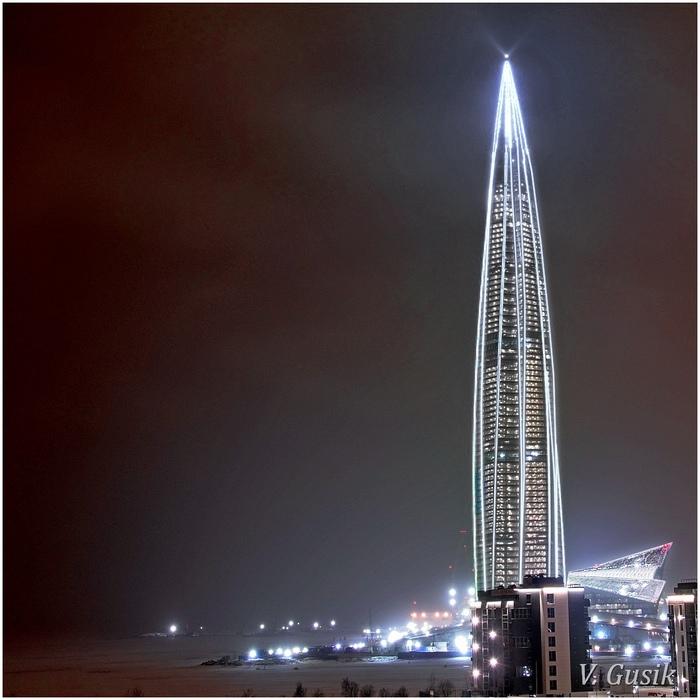 Самая высокая новогодняя ёлка в Европе Лахта-Центр, Санкт-Петербург, Небоскреб, Новый Год, Видео, Длиннопост