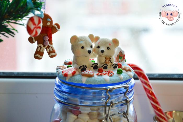 Баночка со сладостями с декором из полимерной глины Рукоделие без процесса, Белые мишки, Ручная работа, Сладости, Баночки, Полимерная глина, Длиннопост