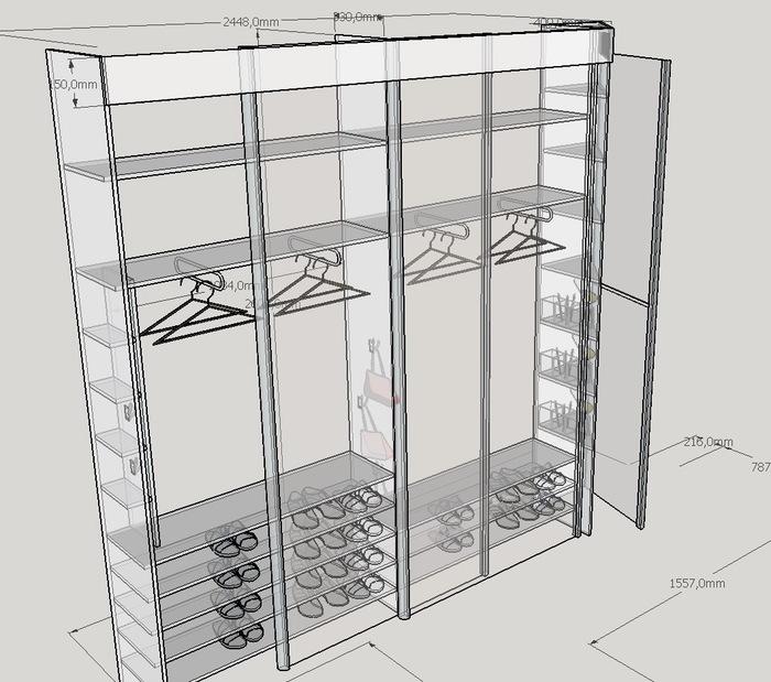 Как я встроенный шкаф запилил Шкаф, Мебель своими руками, Строительство и ремонт, Длиннопост, Sketchup