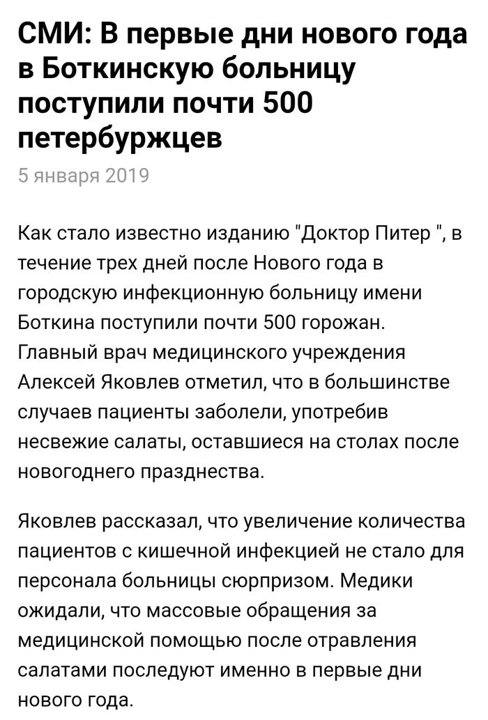В больницу из-за несвежих салатов попали около 500 петербуржцев Санкт-Петербург, Новый Год, Салат