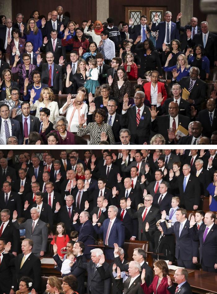 Новый конгресс США, угадайте где демократы а где республиканцы :)