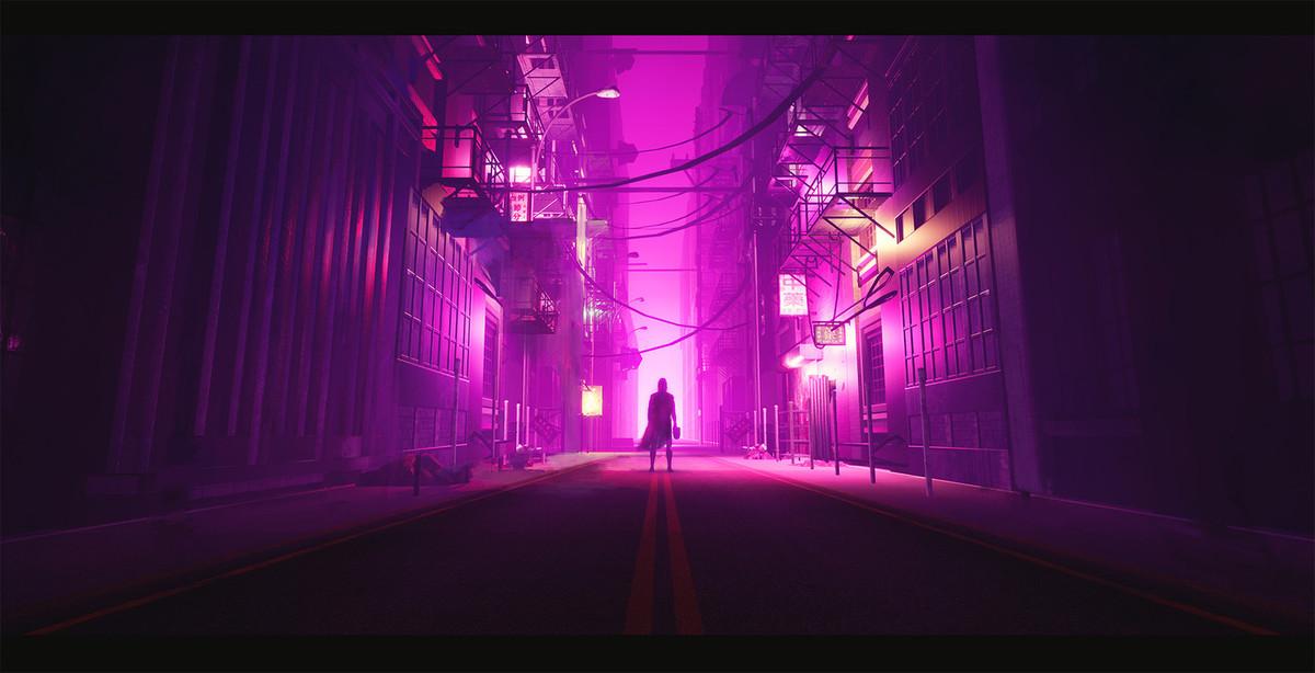 flashy neon lit night scene - HD1715×777