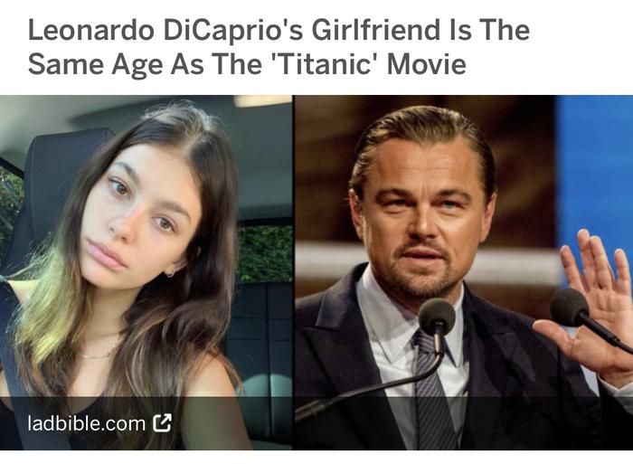 Забавно, подружке ДиКаприо столько же лет, сколько и фильму «Титаник» Леонардо Ди Каприо, Титаник, Новости, Факты