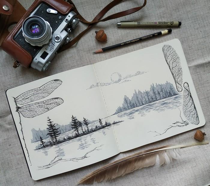 Помечтала - нарисовала - сфотографировала Рисунок, Скетч, Скетчбук, Арт, Акварельные маркеры, Линер, Пейзаж, Вода