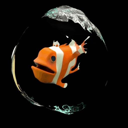 Странная рыба 3D, 3D моделирование, Анимация, Визуализация, Рыба-Клоун, Гифка, Скульптинг