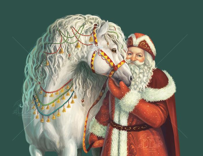 Новогодние иллюстрации Новый год, Иллюстрации, Арт, Цифровой рисунок, Дед Мороз, Снегурочка, Скетч, Длиннопост, Рисунок