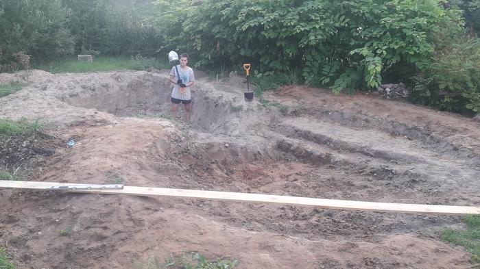 Как мы бассейн(пруд) этим летом делали Длиннопост, Строительство, Пруд, Бассейн, Своими руками