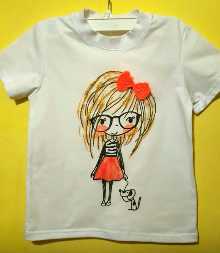 Девочка с собачкой Творчество, Рисунок, Роспись футболки роспись по тк