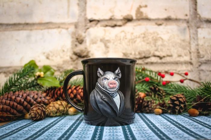 Свинья - персонаж из полимерной глины Джорджа Оруэлла, антиутопия Скотный Двор. Полимерная глина, Длиннопост, Видео, Кружка, Свинья