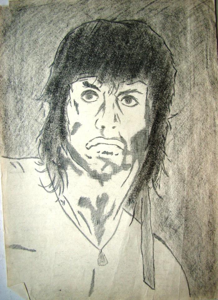 Старые рисунки Рисунок карандашом, 90-е, Длиннопост, Сильвестр Сталлоне, Джексон, Цой