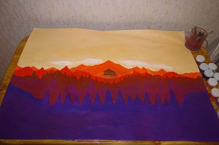 Мои мазюльки на тему Firewatch Firewatch, Рисунок, Рисование, Не художник, Пейзаж