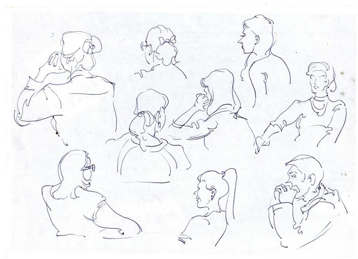 Еще немного линейных человечков Творчество, Рисунок, Набросок, Человек, Портрет, Длиннопост, Рисунок ручкой, Зарисовка