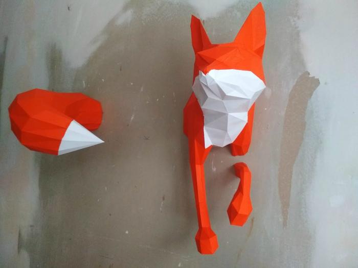 Низкополигональная модель из бумаги: лиса Papercraft, Pepakura, Бумажный моделизм, Лиса, Дизайн интерьера, Длиннопост