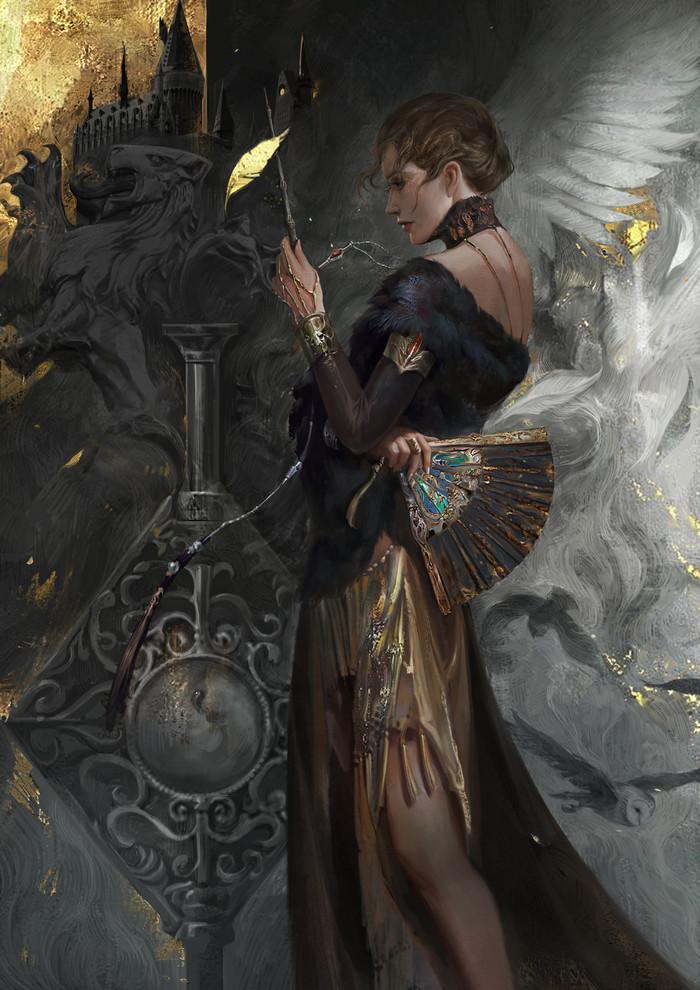 Волшебница Арт, Рисунок, Волшебник, Волшебная палочка, Гарри Поттер