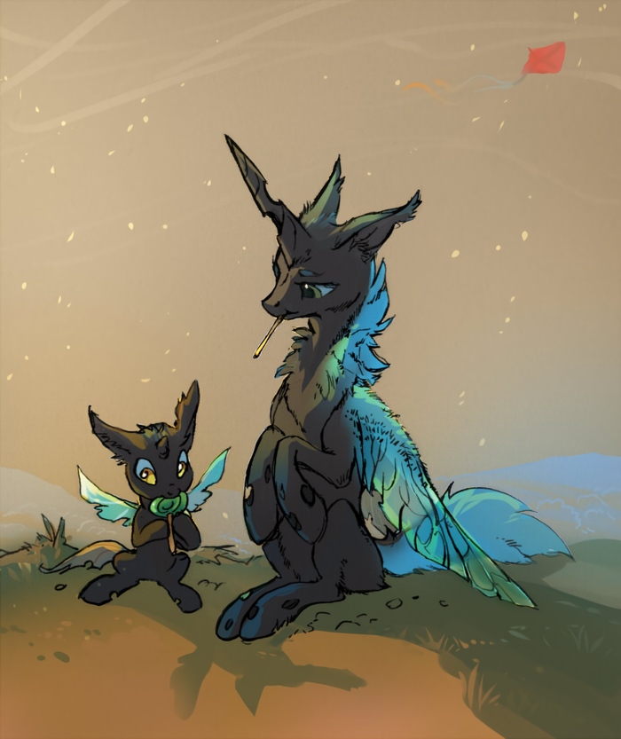 Fluffy Changelings My Little Pony, Original Character, Changeling, Леденец, Tomatocoup