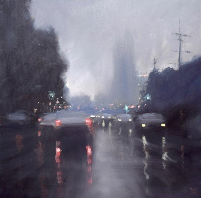Дождливый Мельбурн Арт, Картина, Дождь, Мельбурн, Mike Barr, Длиннопост, Подборка