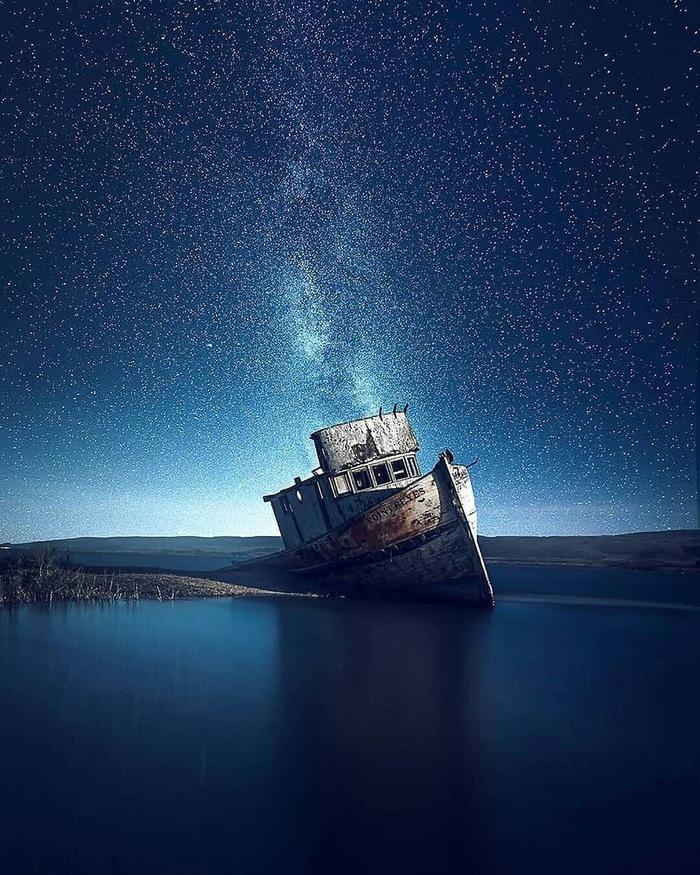 Корабль Фотография, Корабль, Море, Звездное небо