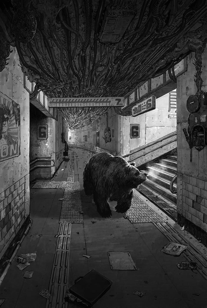 Мишка Арт, Рисунок, Медведь, Подземка