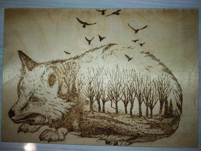Лисичка Животные, Пирография, Выжигание, Рукоделие без процесса, Лиса