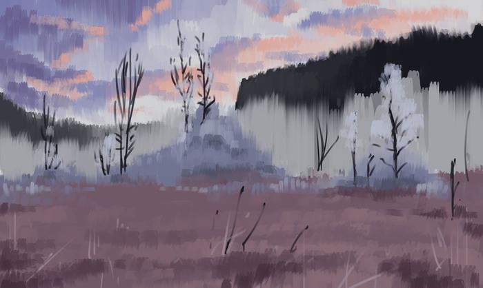 Зима, болото, туман