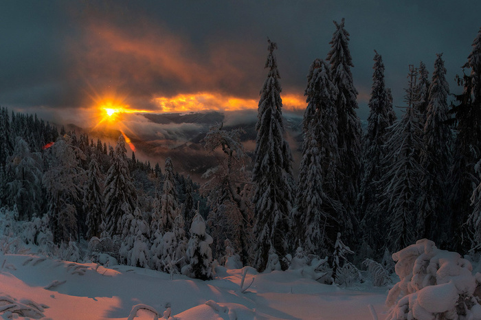Однажды во время 6-ти дневного новогоднего похода по Карпатам Карпаты, Закат, Украина, Фотография, Небо
