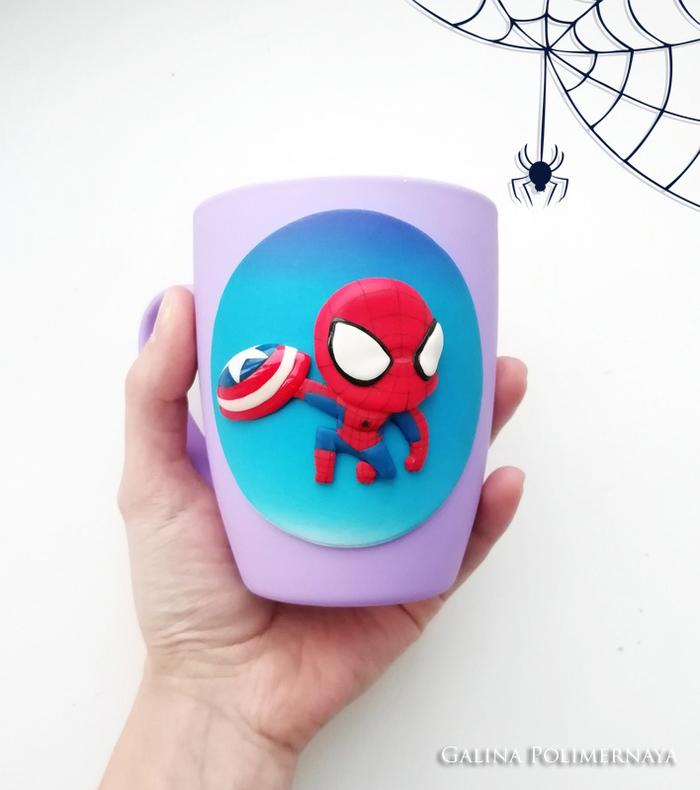 Spiderman ^_^ Человек-Паук, Marvel, Полимерная глина, Рукоделие без процесса, Ручная работа, Handmade, Кружка, Лепка, Длиннопост