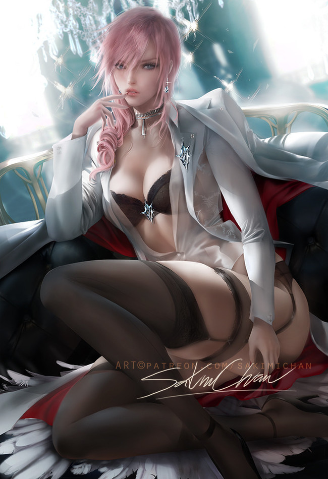 By sakimi chan Sakimichan, Арт, Рисунок, Игры, Final Fantasy, Длиннопост, Lightning