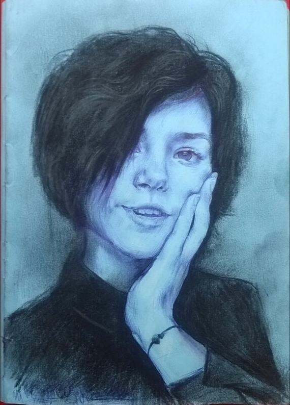 Преображение Рисунок ручкой, Преображение, Длиннопост, Пастель, Смешанная техника, Рисунок, Девушки, Портрет