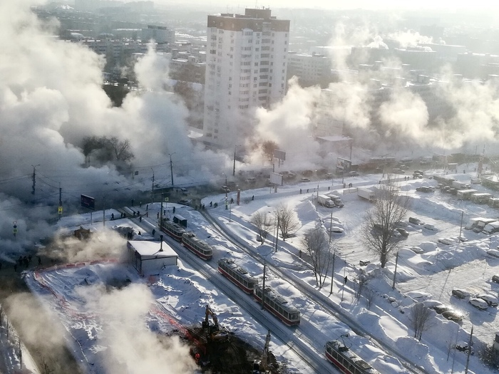 Прорыв трубы в -20 Самара, Мороз, Кипяток, Пар, Вода