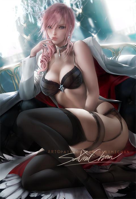By sakimi chan Sakimichan, Арт, Рисунок, Игры, Final Fantasy, Lightning