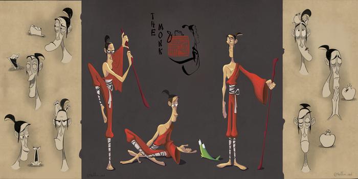 Разработка персонажа - китайский монах Персонажи, Мультфильмы, Иллюстрации, Лягушка, Эмоции, Цифровой рисунок, Рисунок, Монах