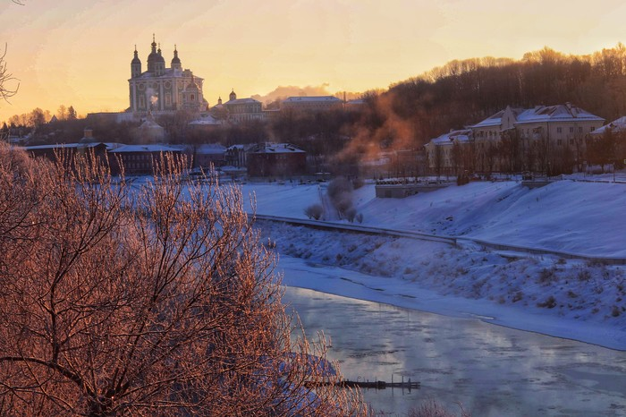 Морозное утро Смоленск, Фотография, Начинающий фотограф, Успенский собор, Набережная, Днепр, Река, Утро, Длиннопост