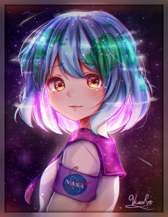 Earth-chan Земля-Тян, Аниме, Anime Art, Арт, Vikarock