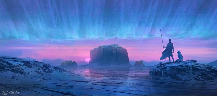 Замерзшая пустыня Арт, Рисунок, Северное сияние