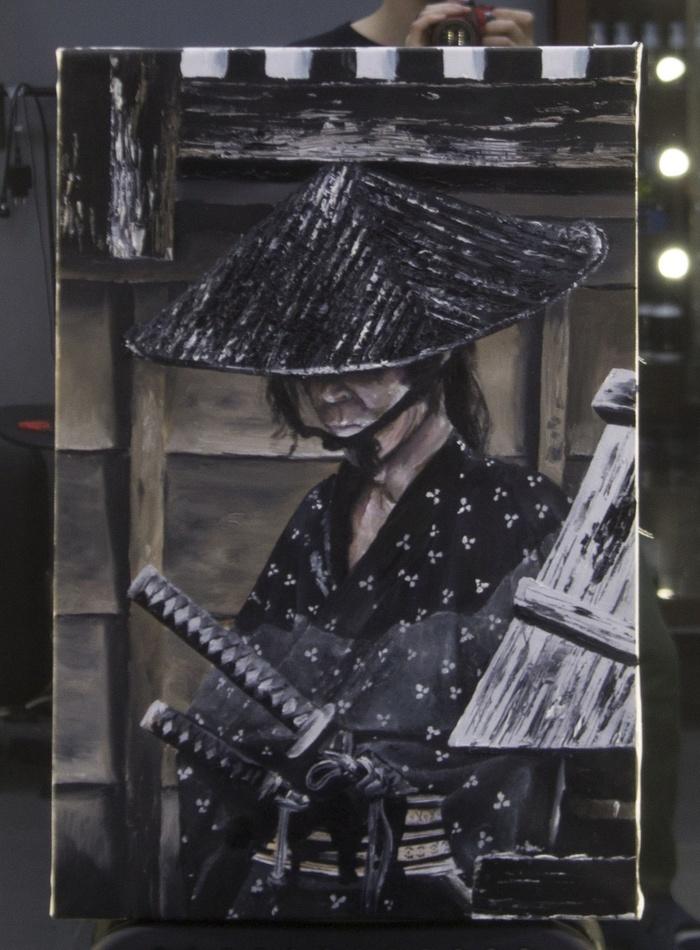 Самурай. Моя первая работа в масле. Самурай, Картина, Творчество, Масло, Картина маслом, Портрет, Воин, Мужчина