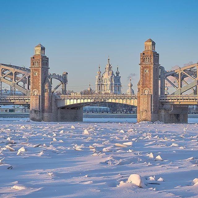 Большеохтинский мост - Смольный собор. Санкт-Петербург, Большеохтинский мост, Зима