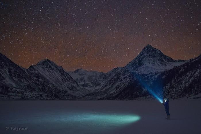 Звёздное небо над горными хребтами Горного Алтая. Горный Алтай, Красота, Горы, Звездное небо, Туризм, Длиннопост