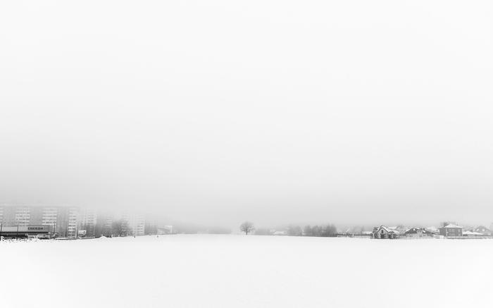 Между городом и деревней Фотография, Черно-Белое, Минимализм, Пейзаж, Беларусь