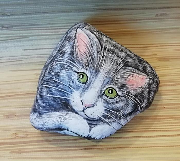 Тоже поделюсь своими валунчиками. Роспись, Кот, Роспись по камню, Длиннопост, Животные, Мышь, Грызуны, Нюхлер