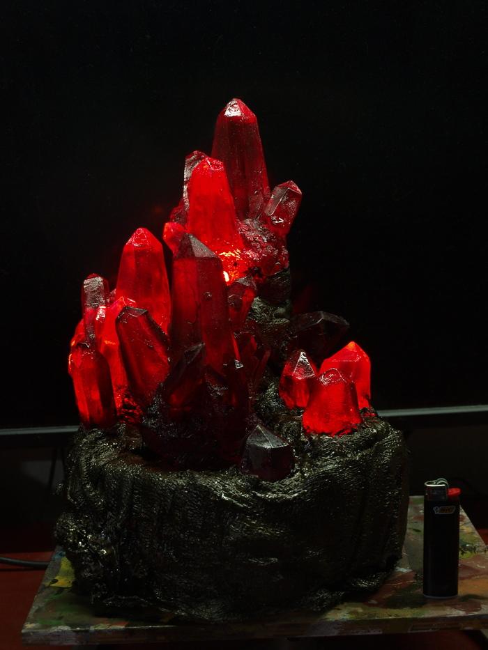 Алый кристалл Кай Йара, Кристаллы, Крафт, Литье пластмасс, Литье из смолы, Ночник, Светильник, Длиннопост